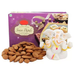 Ganesha Combo' to your family and friends. This comprises of One 250 grams Pack of Soan Papdi, Almonds of 250 grams and One Mini Stone Ganesha Idol of 3 inches.