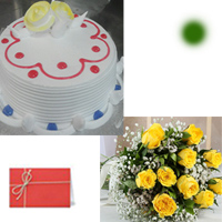 1kg Vanilla Eggless Cake + 12 yellow roses bunch 