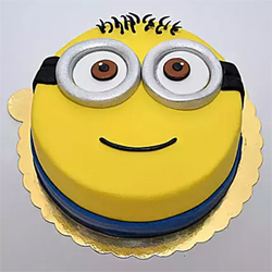 Minion Chocolate Fondant cake 2kg  This Minion make people fall in love with them due to their cute smile. If your kids are a huge fan of this cartoon cake