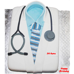 Doctor fondant vanilla cake Give a super delicious treat to your doctor and delight him/her on birthday or doctors day. The most loved vanilla flavor and the smooth creamy texture of this cake make this delight utterly delectable.