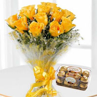 his combo consists of a 12 Yellow Roses Bunch, a box of 16 Ferrrero Rocher.