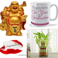 Laughing buddha+Congratulations mug+ Good Luck Bamboo plant +Congratulations Greeting card