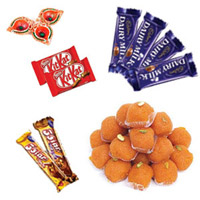 Laddoo & Chocolates Hamper with Diyas