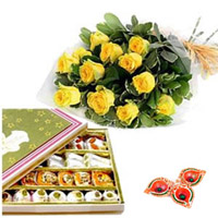 Assorted Sweets and Roses with Diyas