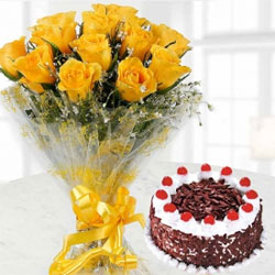 bunch of 12 yellow roses and scrumptious 1/2 kg black forest cake to tell your friends and family how much you miss them.