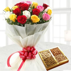 Send your love to your friends and family in the form of this wonderful combo consisting of a bunch of 12 fresh mix roses and a Half Kg pack of dry fruits.
