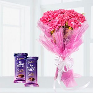 Description Send This Amazing Combo10 Pink Carnations Bunch 2 Cadbury Dairy Milk Silk Chocolate Eah One 65gms