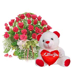 This Hamper consists of a Basket of 30 Red Roses and 10 inch Teddy with Heart.