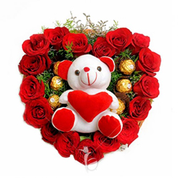 Heart-shaped arrangement of 5 Ferrero Rocher and 25 fresh Red Roses comes with a 6