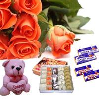 10 Orange Rose Bunch 1/4 kg Mixed Sweets small teddy 4 Cadbury Dairy Milk.Chocolates