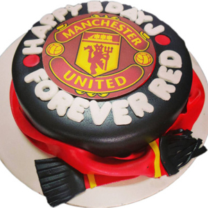 Gesf2649 Manchester United Cake 2kg Fondant Cakes Delivery To Guntur