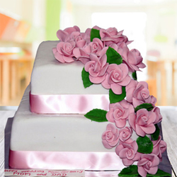 Pink Floral Wedding Cake 3kg