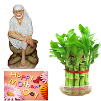 Saibaba Idol (POP Material) - Height : 5 inches (Approx.) Good Luck Bamboo plant. Send this two layer good luck bamboo plant