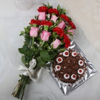 15 Mix Flowers with Matching Ribbon Bow Tied, 1 Kg Black Forest Cake.