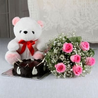 This gift combo is comprises of one white teddy bear, one kg chocolate cake and a bunch of six pink roses.