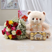 Bunch of 15 Mix Roses with matching ribbon bow tied + Teddy Bear (Size: 12 inch) + Love card + 16 Pcs Ferrero Rocher chocolate