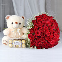 Bunch of 100 red roses with matching ribbon bow tied, Teddy Bear (Size: 12 inch), 16 Pcs Ferrero Rocher chocolate