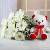 Bunch of 10 White Gerberas With Matching Ribbon Bow Tied and White Teddy (Size: 6 inches)