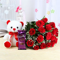 Bunch of 18 Red Roses with Matching Ribbon Bow Tied, White Teddy Bear (Size: 6 inches), 1 Bar of Cadbury Dairy Milk Silk Chocolate (60g)