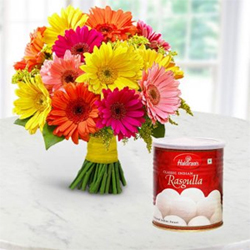 Bunch of 12 Mix Gerberas  Box of 1 Kg yummy Rasgullas for them to savour
