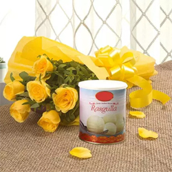 This bunch of sunlit yellow Roses is a symbol of friendship and care