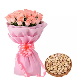 Celebrate special occasion of your dears with this special gift of 20 pink rose bouquet and basket of 250gms pista dry fruit.
