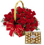 A Basket of 50 Red Roses and a Pack of 24 Ferrero Rocher Chocolate