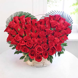 50 Red roses Heart shape