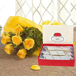 Just grab our exclusive combo of 10 yellow roses bunch 1/4kg Kaju Katli.