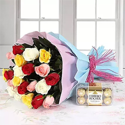 Mark the new beginning by sending your best wishes to your loved one with this 30 Mixed beautiful bouquet of colorful roses and 16 pcs Ferrero chocolates