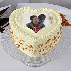 Butterscotch Heart Shaped Cake 1kg to Vizag