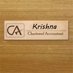 Looking to gift something unique and special to your friend or family member who is a CA. A very smart and formal rectangular wooden plaque of size 5in x 0.5in x 4in with the name and qualification printed on it