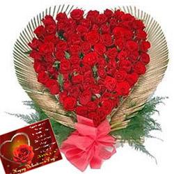 Roses in a Heart Shape Arrangement