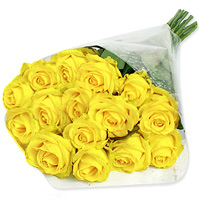 Collection of 36 vibrant yellow roses surrounded by lemonium, wrapped in fancy cellophane paper and tied together with a pretty yellow ribbon