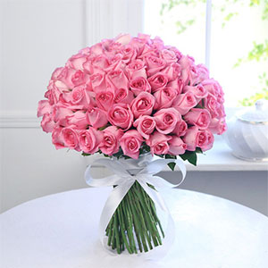 Bunch of  50 Pink Roses to Kakinada