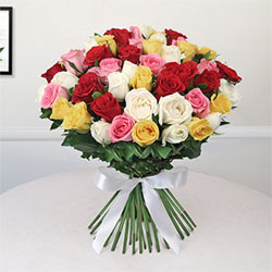 Bunch of 50 Mix Roses to kakinada