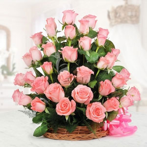 basket of 50 pink roses