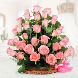 basket of 50 pink roses  to kakinada