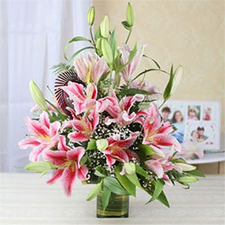 Beautiful 15 Pink Lilies to kakinada