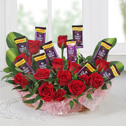 Arrangement of Roses & Chocolates