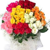 100 Mix roses bouquet  to kakinada