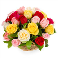 24 Basket Arrangement of Mixed Color Roses to your loved ones, family and friends anytime, anywhere in india