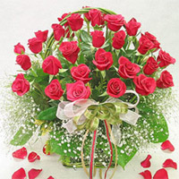 40 Red Roses in a basket