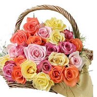 Multicolour Rose Basket to kakinada