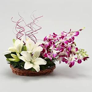 Lilies And Orchids Basket Arrangement