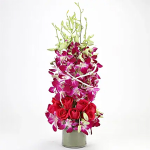 Roses And Orchids Vase