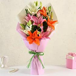 Mixed Asiatic Lilies Bunch