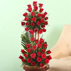 50 red Roses 2 step arrangement