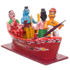 Rama, Laxamana, Sita on a Boat