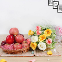 Two of the best things from nature all the way to your mom! Apples and Roses Two Kg Apples Ten Mixed Roses